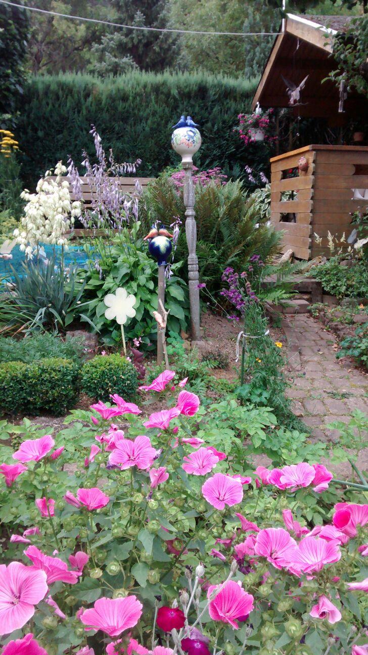 Agnes Weihbrecht aus Höpfingen zeigt uns ihre kleine Blumenoase mit Gartenhäuschen und kleinem Teich im Hintergrund.