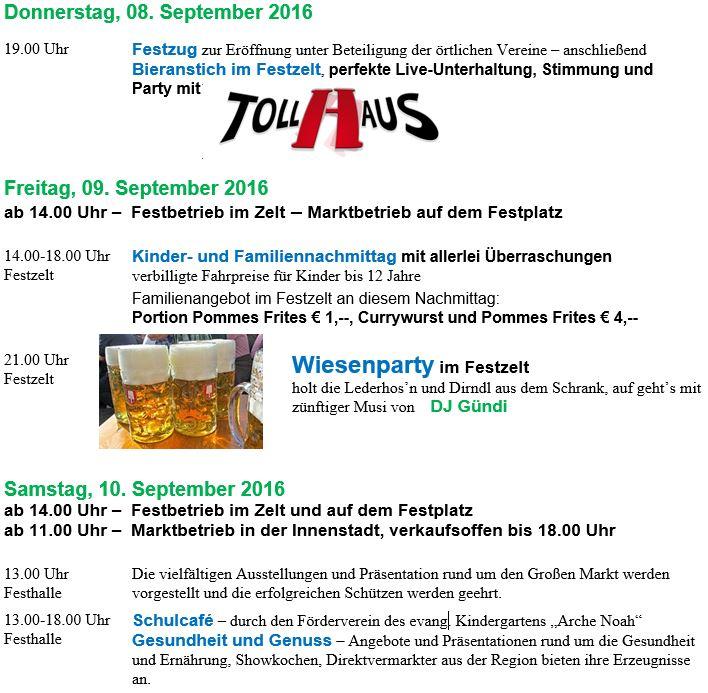 Veranstaltungsprogramm, großer Markt, Külsheim
